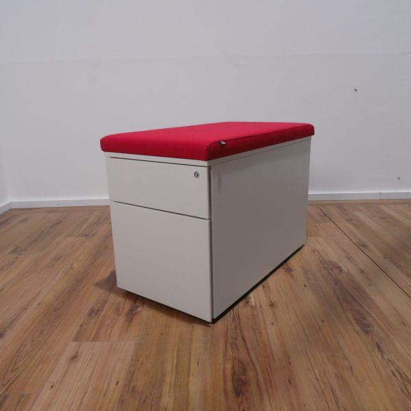 Steelcase Rollcontainer - Korpus in weiß - A6/A4 weiß - Sitzkissen rot