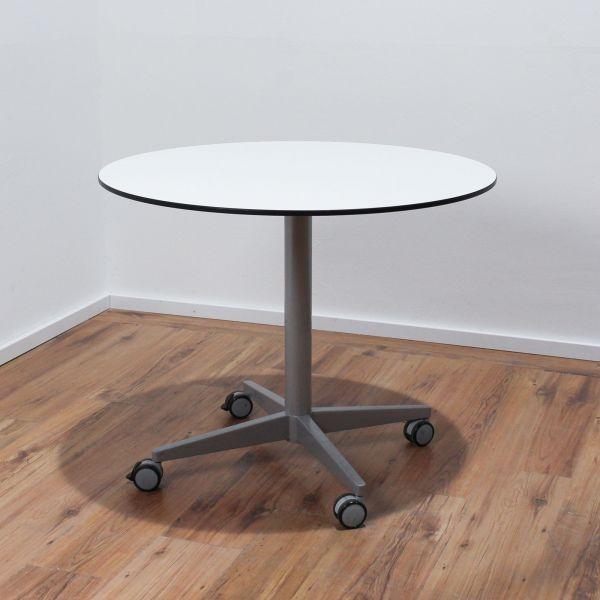 Sedus Besprechungstisch - Platte weiß - Ø 90 cm - Gestell silber - rollbar