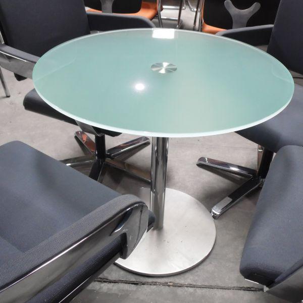 Glastisch Besprechungstisch - Glasplatte Ø 80cm - Gestell chrom