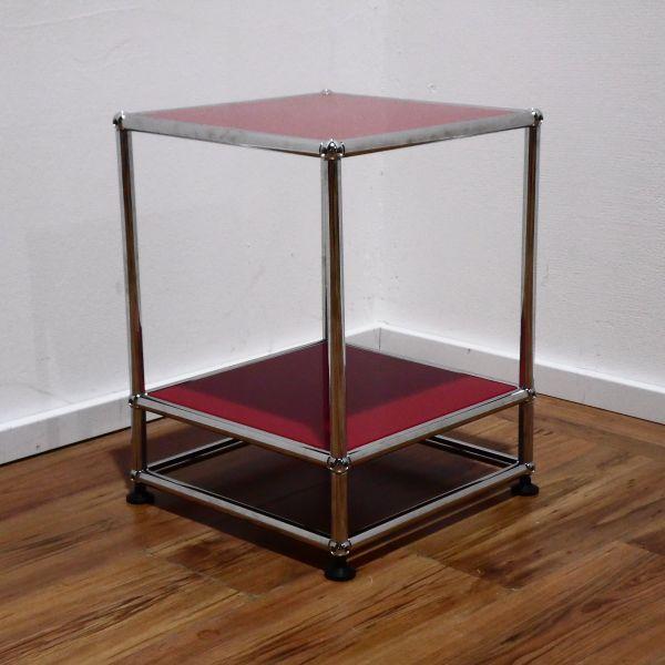 USM Haller Beistelltisch - 35x35x50 cm rubinrot auf Sockel