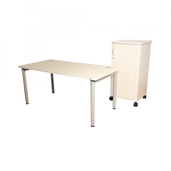 VS Möbel Arbeitsplatz Set Schreibtisch 160x80cm + Caddy auf Rollen - Angebot des Monats -