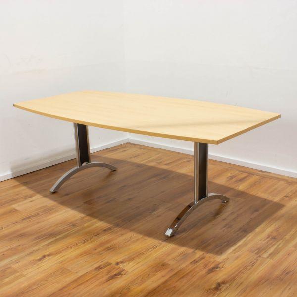 Hund Konferenztisch 200x100 cm Buche - Gestell chrom