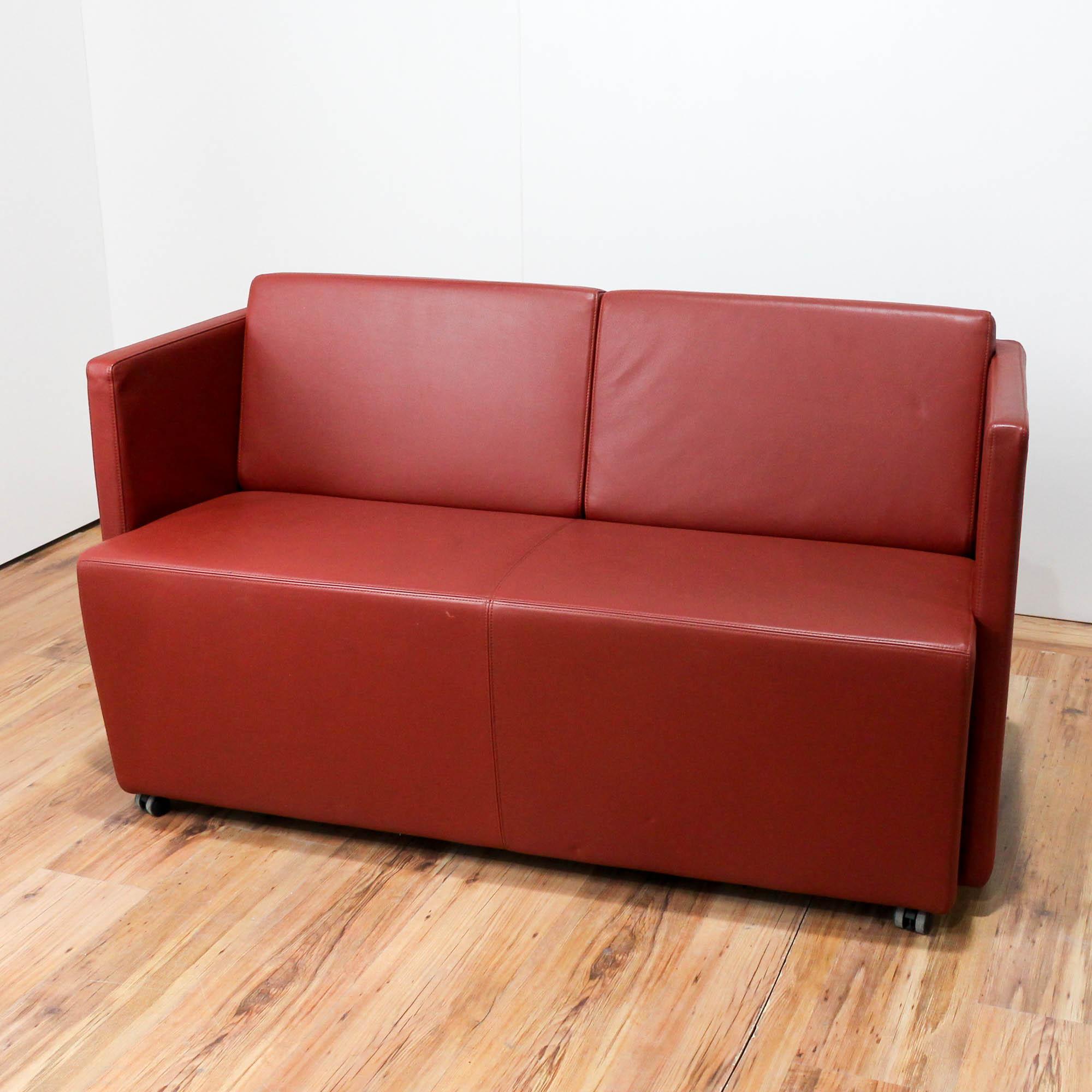 sofa lounge empfang leder orange couch b rost hle ks b rom bel. Black Bedroom Furniture Sets. Home Design Ideas