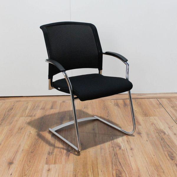 Interstuhl Xantos Freischwinger Netzrücken / Sitzfläche Stoff Schwarz stapelbar