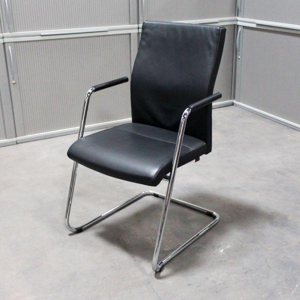 "Züco Besucherstuhl ""Cubo Advanced"" - Leder in schwarz - Gestell chrom"