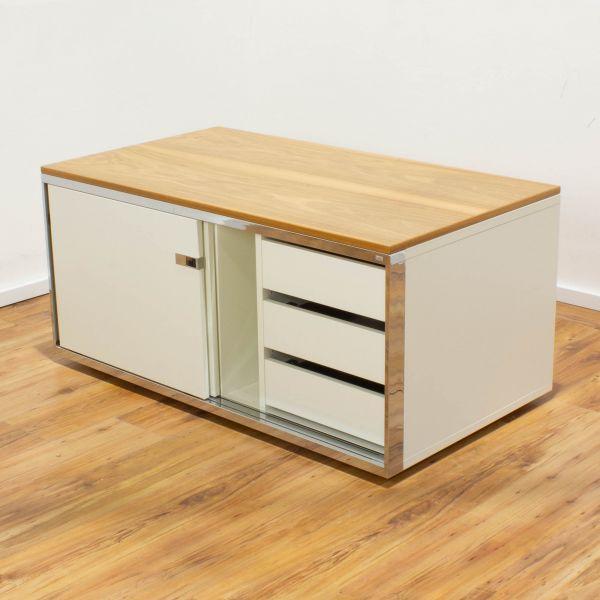 Sedus Lowboard weiß - Deckplatte teak