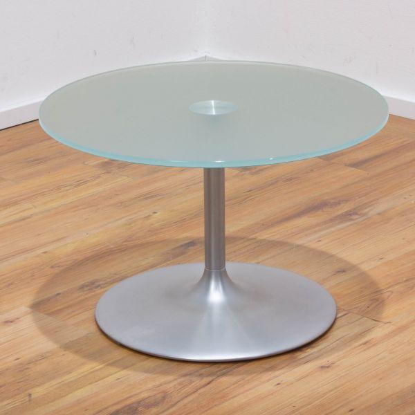 Maraz Beistelltisch Glas - Ø65 cm - Tellerfuß silber