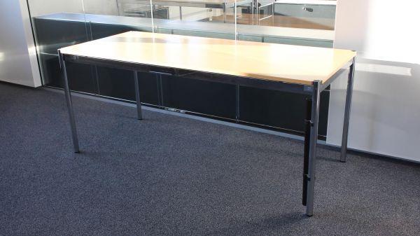 USM Haller Schreibtisch - 175x75cm in buche - Gestell 4-Fuß chrom