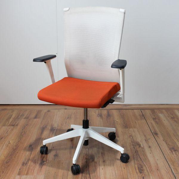 Haworth Bürodrehstuhl Stoff Orange Netzrücken Weiß