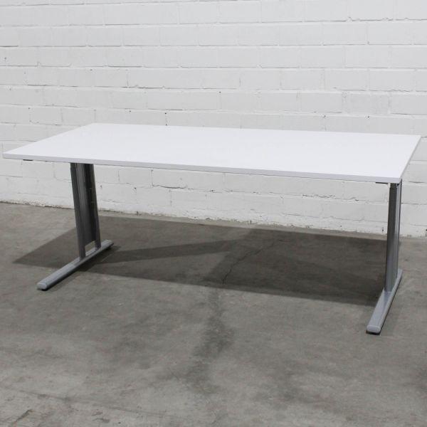 Geramöbel Schreibtisch Platte weiß Gestell silber 180 x 80 cm