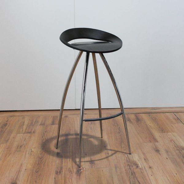 Lyra Sitz-/Stehhocker Sitz Holz Schwarz Chrom 4-Fußgestell