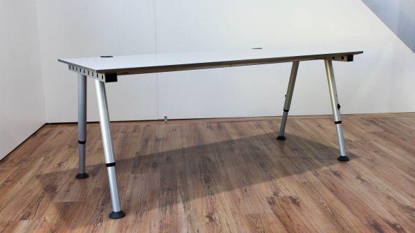 %SALE Vario Schreibtisch - 180x80cm in lichtgrau - A-Fußgestell silber