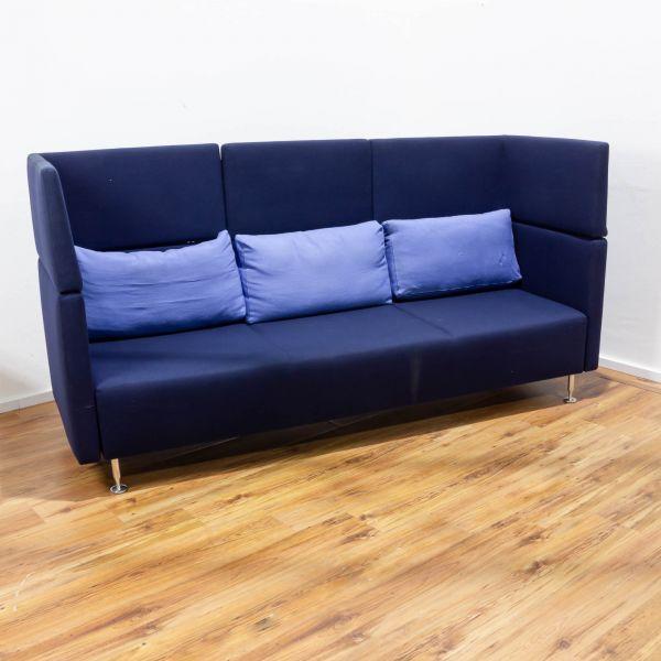 Sedus Sopha Couch - 3-Sitzer - Stoff blau - Chromfüsse