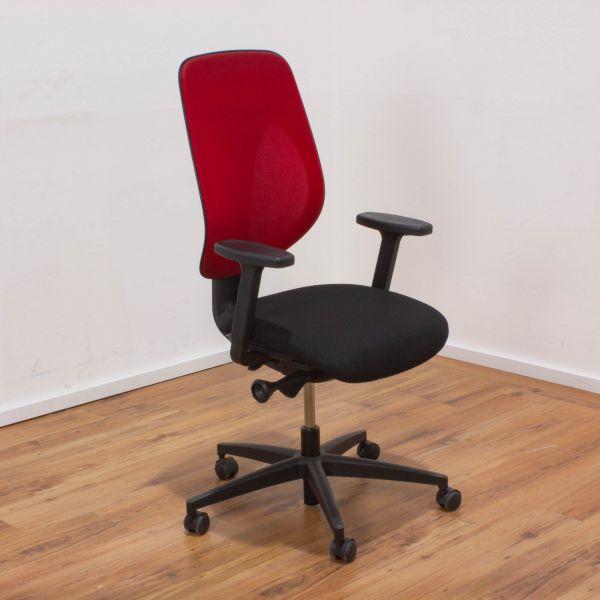 % Sale Giroflex 353 Bürodrehstuhl - Netzrücken rot - mit Gebrauchsspuren