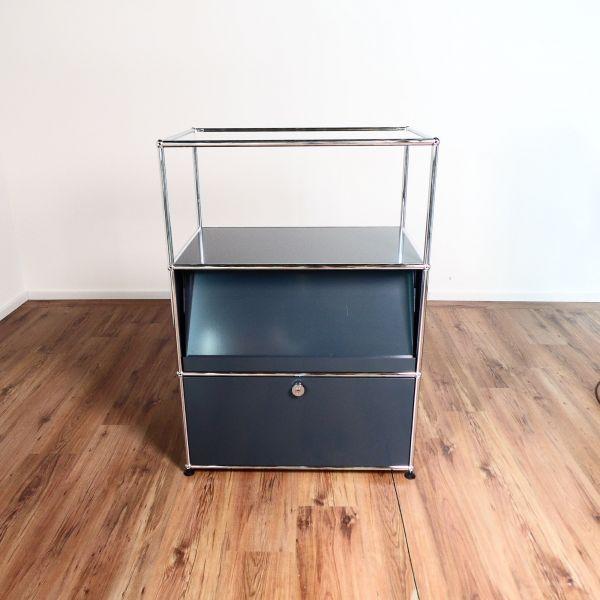 USM Haller Sideboard 3OH - 3 Felder in anthrazit - 1 Klappe - 1 Glasplatte
