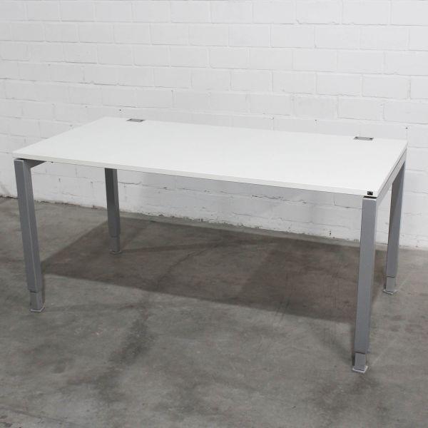 König & Neurath Basic 4 Schreibtisch Platte Weiß 160x80cm 4-Fuß Silber