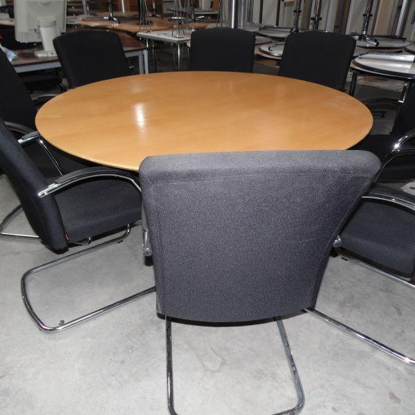 """USM Konferenztisch """"Kitos"""" - Ø 150 cm in buche - Gestell chrom"""