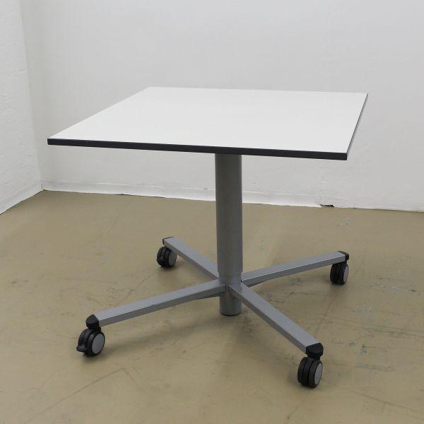 VS Lift Up Hubtisch - Platte weiß - 80x80 cm - Gestell silber - rollbar