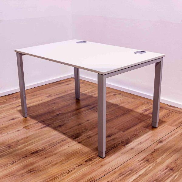 Schreibtisch 120x80cm lichtgrau - Gestell 4-Fuß silber