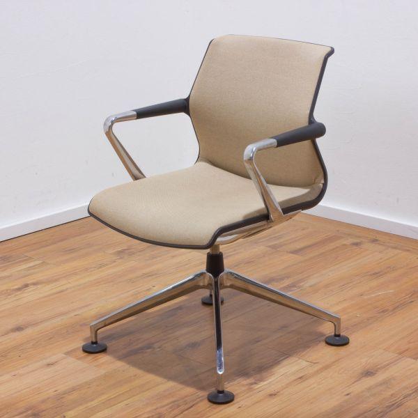 """Vitra """"Unix Chair"""" Besucherstuhl - Stoff tobacco / cremeweiss - Gestell 4-Sternfuß chrom"""