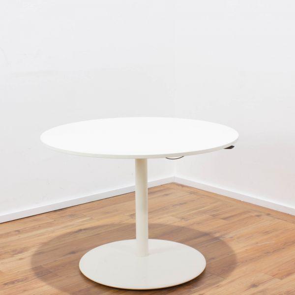 Sedus Hubtisch weiß - Ø 100 cm - höhenverstellbar - Tellerfuß weiß