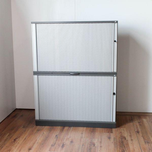 Schärf Sideboard 4OH - 2x2OH - Korpus anthrazit 120b Querrolladen Silber