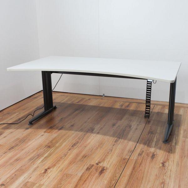 Schärf Schreibtisch elektrisch höhenverstellbar Freiformplatte Lichtgrau 180 x 85 - 100 cm
