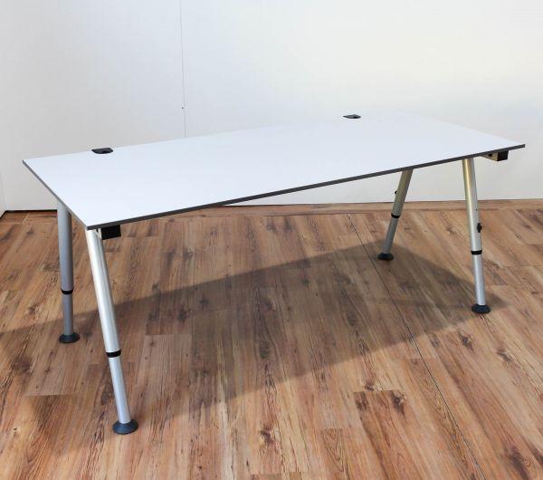 %SALE Vario Schreibtisch - 200x80cm in lichtgrau - A-Fußgestell silber