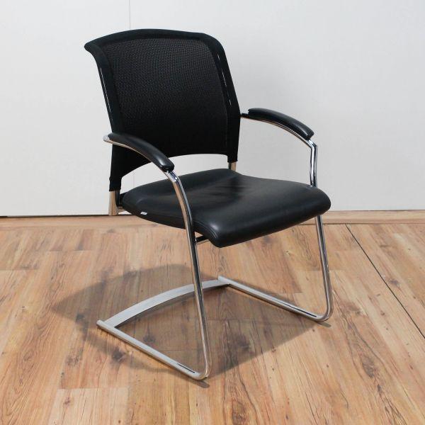 Interstuhl Xantos Freischwinger Netzrücken / Sitzfläche Leder Schwarz