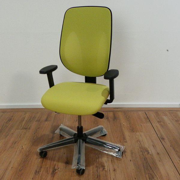 Giroflex 353 Bürodrehstuhl - Stoff apfelgrün - Netzrücken - Gestell schwarz - NEUWARE