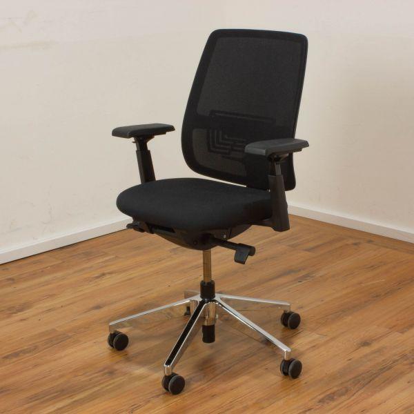 Haworth Comforto 29 Bürodrehstuhl - Netzrücken schwarz - Gestell chrom