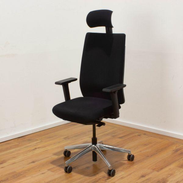 ViaSit F1 Bürodrehstuhl - Stoff schwarz - hohe Rückenlehne mit Kopfstütze - Gestell chrom