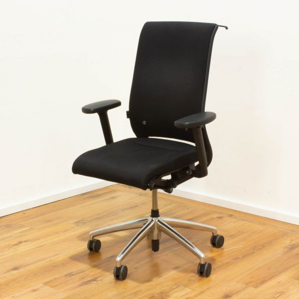 Interstuhl Bürodrehstuhl Stoff schwarz Gestell chrom