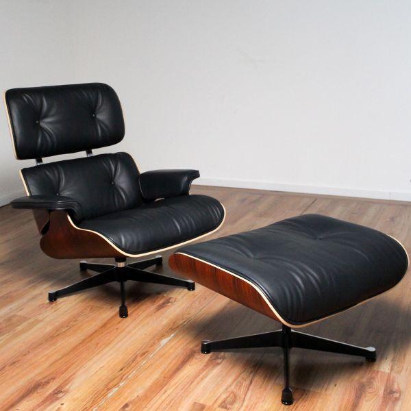 Vitra Lounge Chair - Leder schwarz - Schale Santos Palisander + Ottomane - Sonderangebot