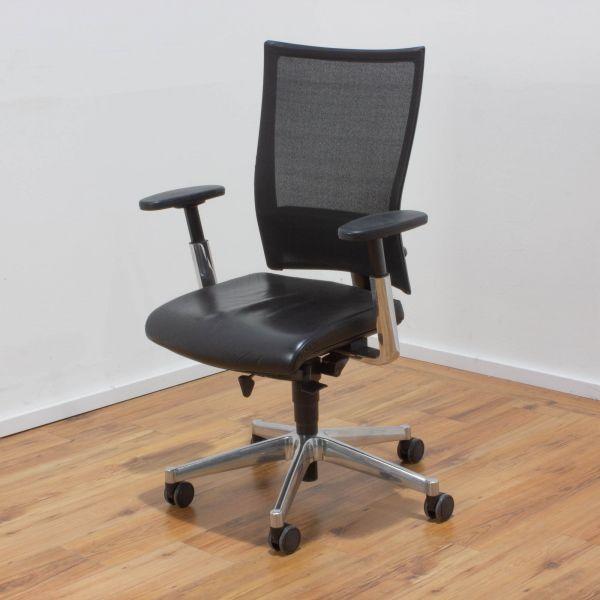 Klöber Bürodrehstuhl Leder schwarz - Netzrücken schwarz - Gestell chrom