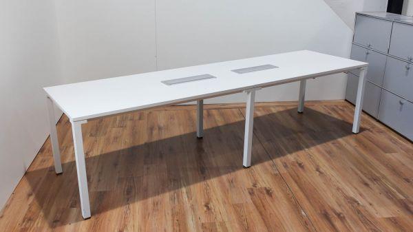 Steelcase Konferenztisch 280x80cm Tischplatte und Gestell in Weiß
