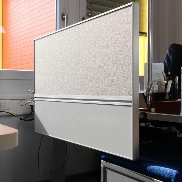 Bene Akustik- Aufsatztrennwand / Sichtschutz Bezug Stoff hellgrau b 100cm
