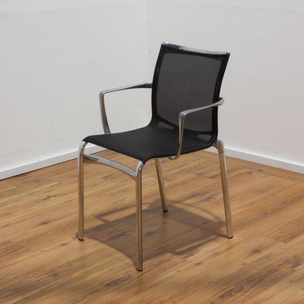 Alias Besucherstuhl mit Netz schwarz - 4-Fußgestell chrom