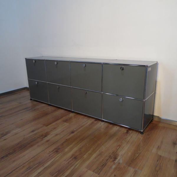USM Haller Sideboard 2OH - 8 Felder in mittelgrau - 8 Klappen