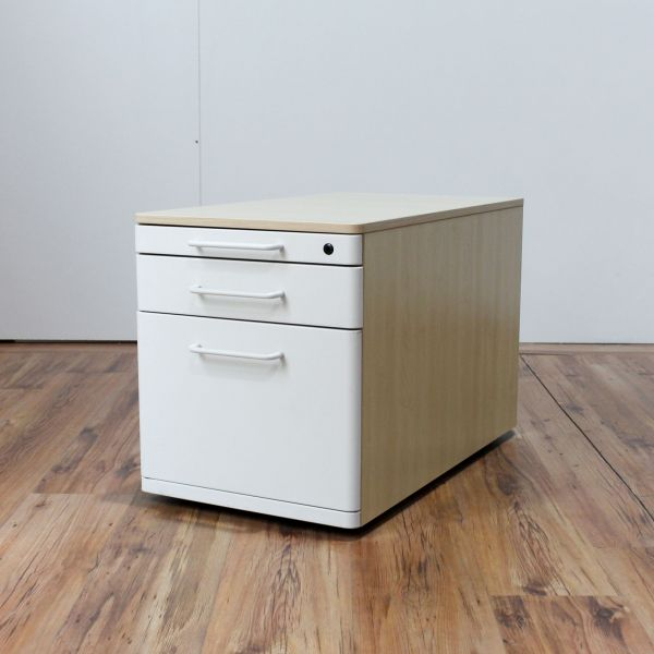 Steelcase Rollcontainer - Korpus in ahorn - 3 Schubladen weiß
